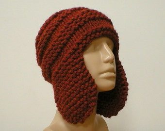 Earflap hat, trapper cap, rust copper, ski snowboard hat, winter hat, knit toque, skateboard, mens women hat, beanie hat, chemo cap, hiking