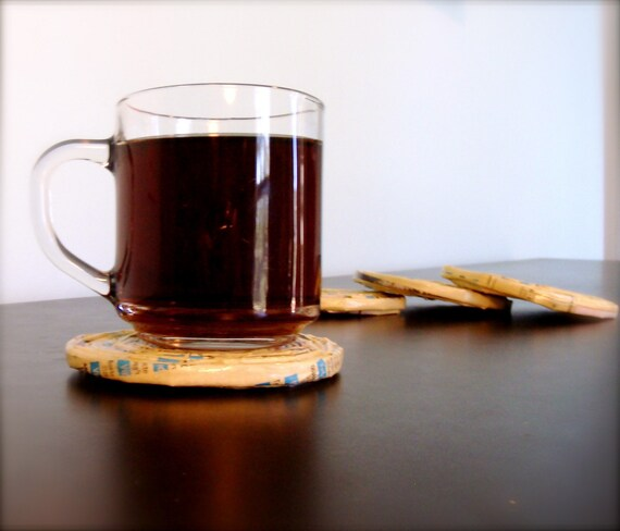 Recycled Phone Book Coasters. Set of 4