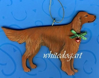 Handpainted Irish Setter Christmas Ornament
