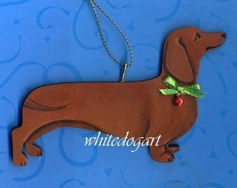 Handpainted Red Dachshund Christmas Ornament