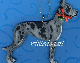 Custom Blue Merle Great Dane Christmas Ornament