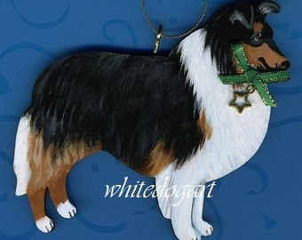 Handpainted Tri-Colored Collie Dog Christmas Ornament