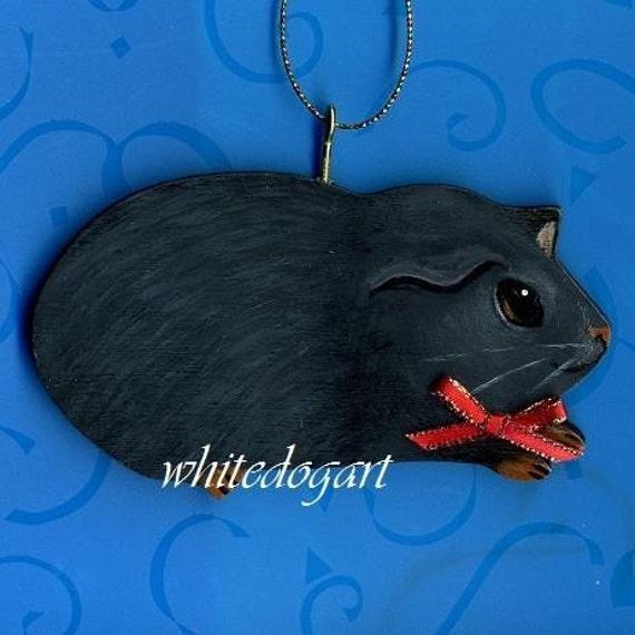 Handpainted Black Guinea Pig Christmas Ornament