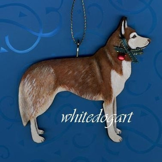 Handpainted Red Siberian Husky Christmas Ornament
