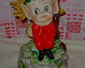 Vintage Xmas  50s 60s Elf  Mushroom Music  Figurine Japan Kitsch  Plays  Jingle Bells