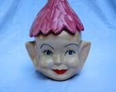 Vintage 60s 70s Pixie Elf  Handmade Cookie Jar