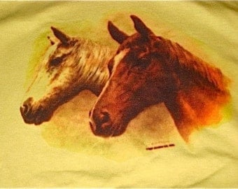 Vintage 70s 80 Horses Horse Print  Cotton Yellow Hoodie Top Shirt  Xs S M RARE Unworn like New