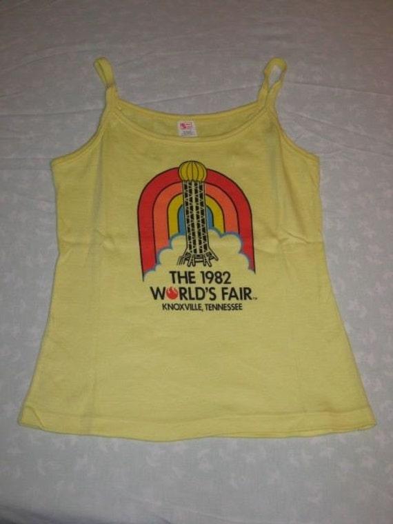Vintage 80s  Worlds Fair Knoxville Tn Tennessee Souvenir Tank Top Rainbow Logo XXS RARE