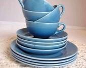 SALE Cups Saucers Plates, Cornflower Blue, Vintage Japan, 12 Piece Set