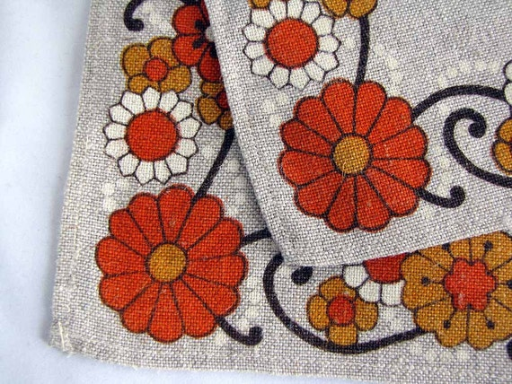 Irish Linen Placemats Retro 70s Flowers Vintage