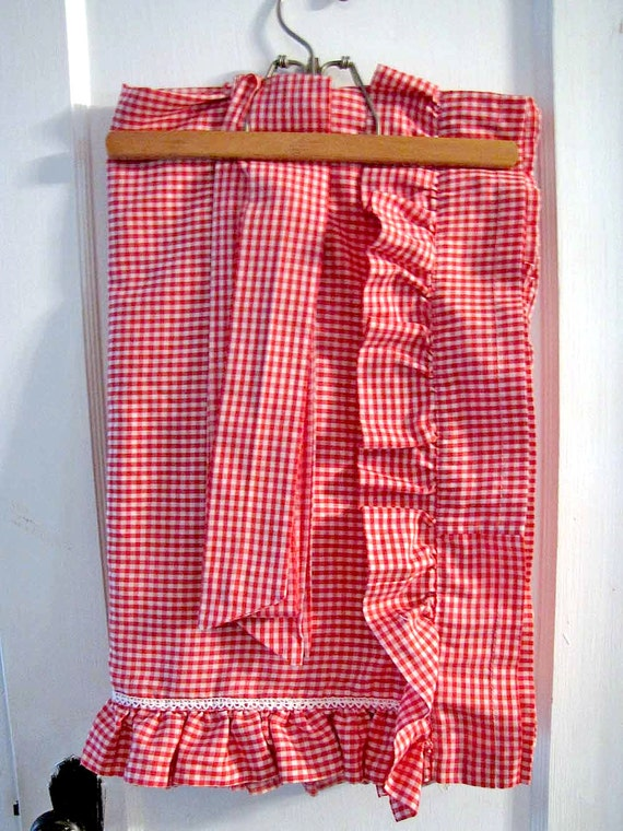 vintage red gingham country curtains by redhenstudios on etsy