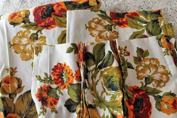 RESERVED Vintage Pleated Drapes, Bold Flowers, Fall Colors, Curtain Pair