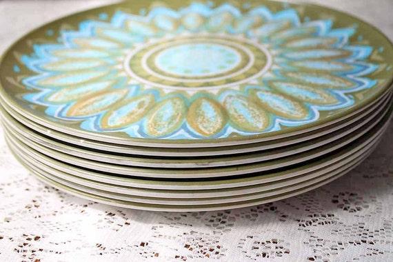 Melamine Melmac Plates, Vintage Mid-Century, Olive Turquoise