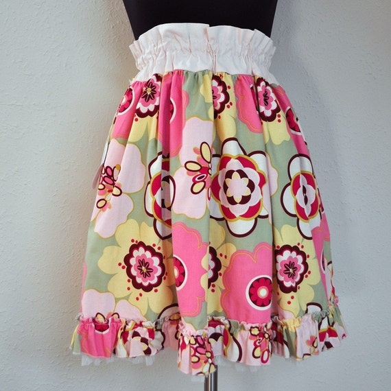 Pink and Yellow Floral Ruffle Skirt with Tulle