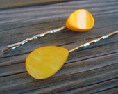 Yellow Mother of Pearl Bobby Pins