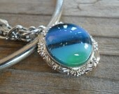 Blue Green Glass Cameo Necklace