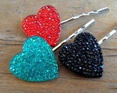 Rhinestone Heart Multicolored Hairpin Set