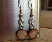 Dark Chocolate Brown Hexagon Earrings