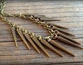 Bronze Spike Necklace- Spiked Necklace on Bronze Cable Chain - Spike Jewelry - Layering Necklace