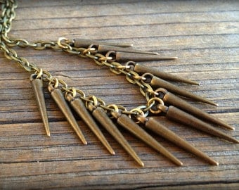 Bronze Spike Layering Necklace on Cable Chain