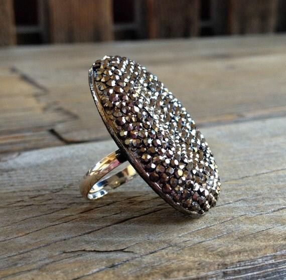 Metallic Silver Rhinestone Ring -  Chunky Rhinestone Ring on Adjustable Silver Base - Adjustable Rings - Statement Rings