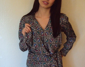 Vintage 80s Geometric Custom Silk Wrap Blouse