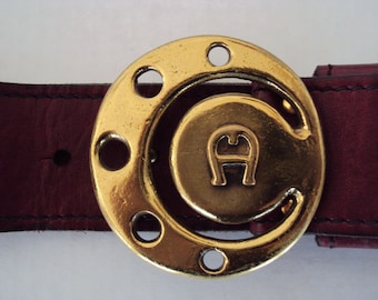 Vintage 70s Brass Buckle Etienne Aigner Burgandy Leather Belt