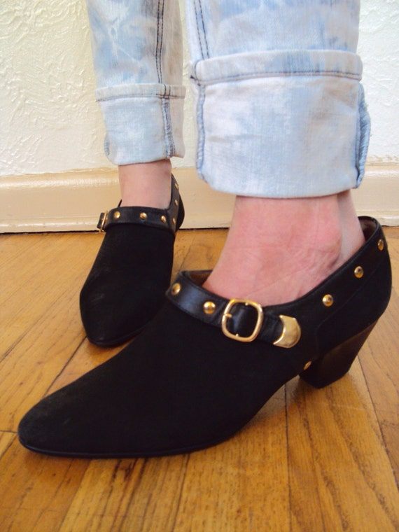VINTAGE 80S GOLD STUDDED BROGUES OXFORD SHOES