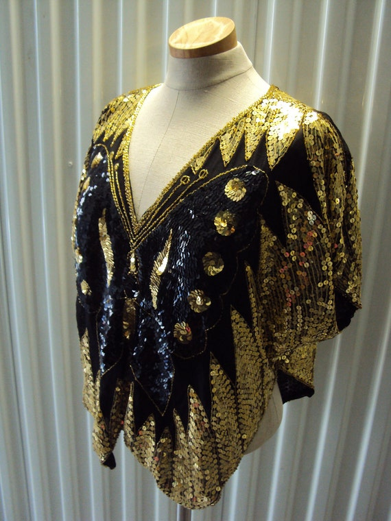 Vintage Black Gold Sequined Butterfly Shirt