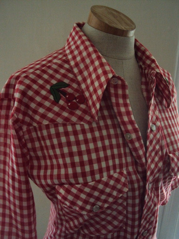 Vintage Cherry Red White Gingham Check Button Down Blouse SHirt