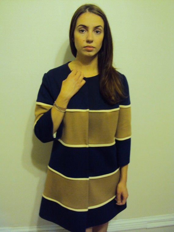 ON HOLD Vintage 60s Mod Navy Striped Coat Jacket