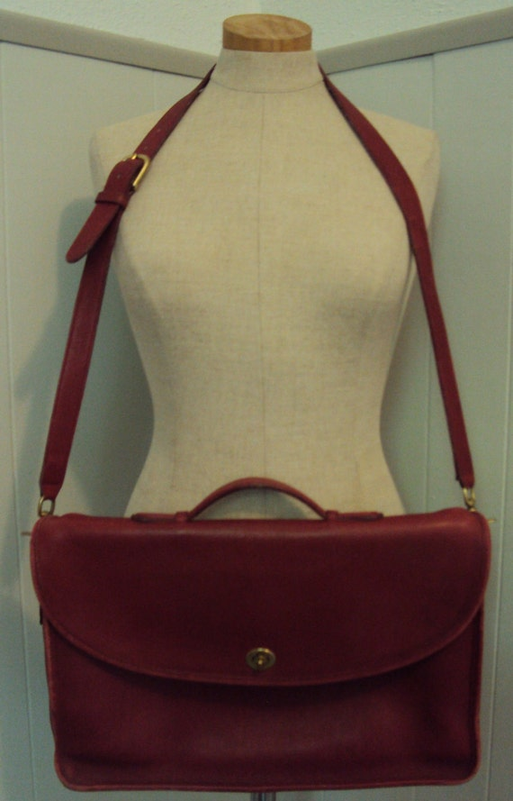 Vintage Red Leather Coach Briefcase Messenger Tote Bag