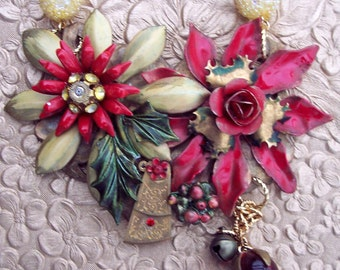 Steampunk Enamel Flower Statement Necklace -Christmas- OOAK - Neo Victorian