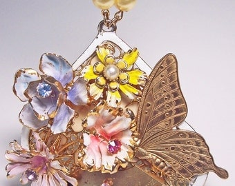 Enamel Wildflower Steampunk Necklace -- OOAK -- Jael Designs