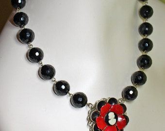 Vintage Enamel Flower Cameo Statement Necklace - Red, White, and Black - OOAK
