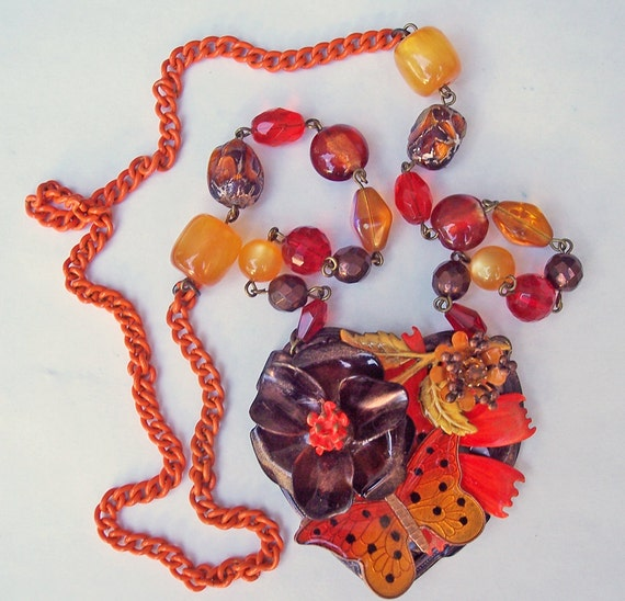 DayGlo Butterfly -- A Vintage Enamel Butterfly and Flower Statement Necklace -- JaelDesigns
