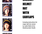 E Pattern for Crochet Helmet Hat Freeform Freestyle with Earflaps