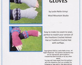 E Pattern For Crochet Fingerless Gloves with Bobble Cuffs