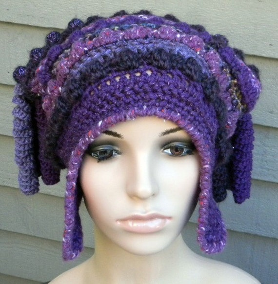 ONE OF A KIND CROCHET HAT WITH EARFLAPS FREEFORM FREESTYLE Free Shipping in the USA