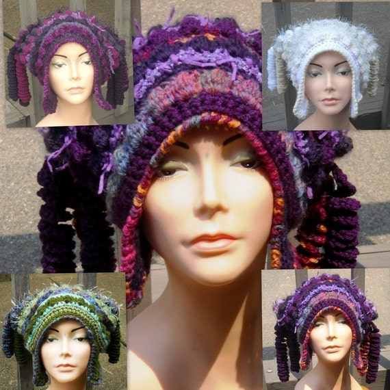 E Pattern Freeform Freestyle Crochet Hat with Corkscrews and Earflaps Permission to sell items made from this pattern