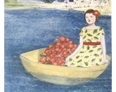 fine art print - mary sailed away from home in a boat filled with flowers - from an original oil painting - archival