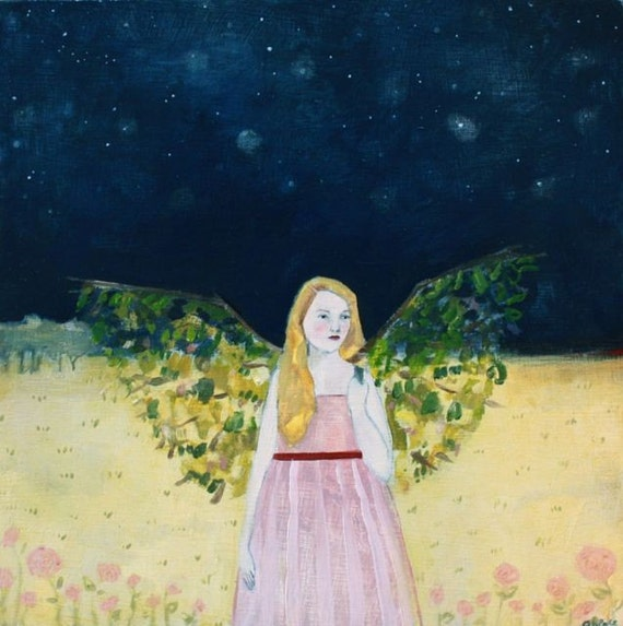 fine art print - charlotte wore wings made of the forest - limited edition reproduction of original oil painting