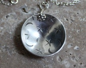 stamped & domed sterling silver necklace - moons and stars