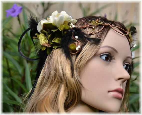 Raven's Nest, Black Feathered Twisted Vine Head Wreath