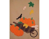 4005 - Wheelbarrow with Pumpkins - Full Size Flag