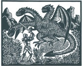 FIGHTING A DRAGON linocut by Lev