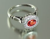 THE SECRET DELIGHT 14k gold Pink Orange Sapphire engagement ring with diamond halo