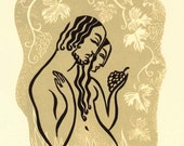 WINE OF LOVE linocut Song of Songs illustration