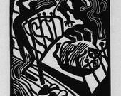 KAFKA - THE METAMORPHOSIS linocut