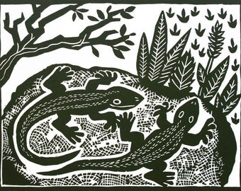 Sunbathing Lizards linocut by Lev